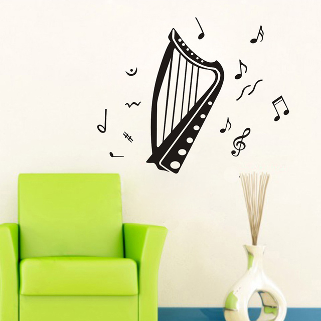 Us 6 39 20 Off Aliexpress Com Buy Classical Harp Wall Sticker Music Living Room Tv Background Instruments Music Wall Decal Bedroom School Decor