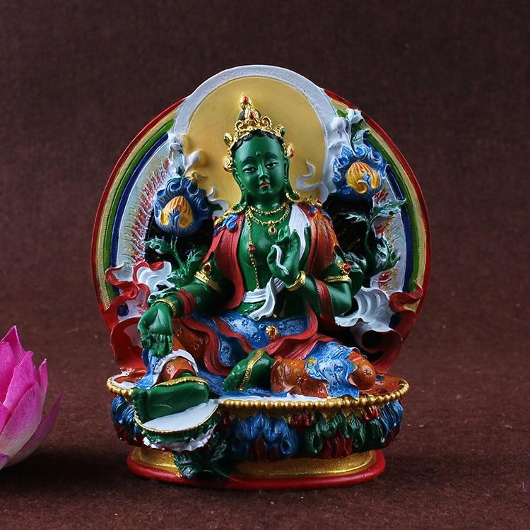 Misfortunes, Green Tara, Bodhisattva Statue, Tibetan Tantric, Hand Painted, Small Statues, Figurine ~