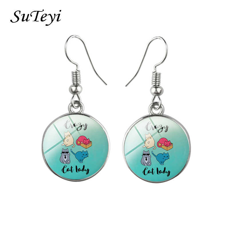 67a10abb4 SUTEYI New Multiple Color Classic Fashion Glass Cabochon Kitten Animal Cats  Jewelry Cute Cat Stud Earrings