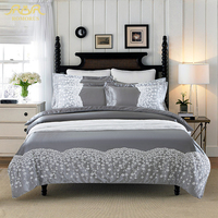 ROMORUS 2016 New Gray Washed Silk Cotton Solid Color Bedding Set 4pcs Queen King Size Lace