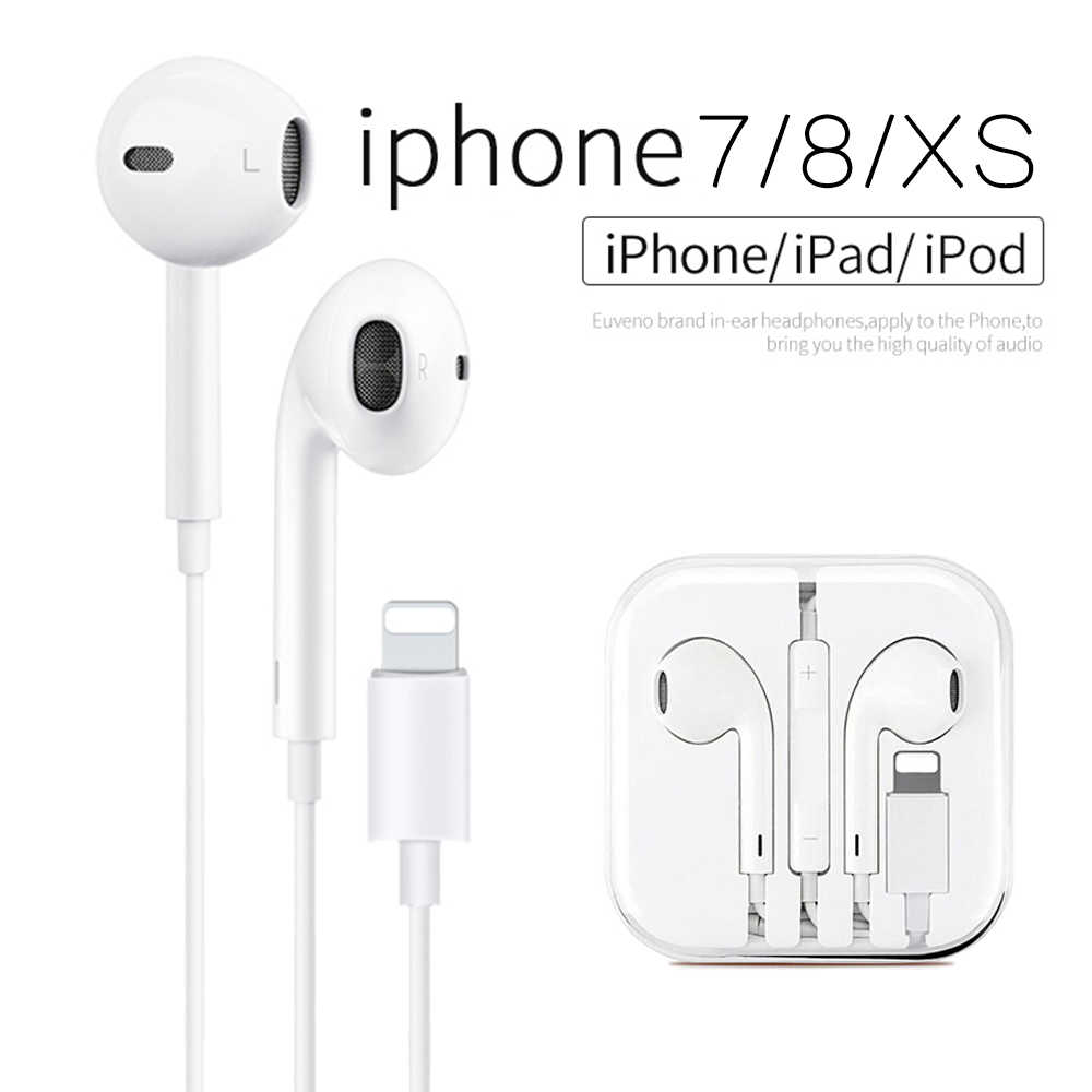 Original Earpods for lightning In Ear Earphones with Microphone and Volume Control for iPhone 7/7 Plus / 8/8 Plus/X/XS Max/XR/XS