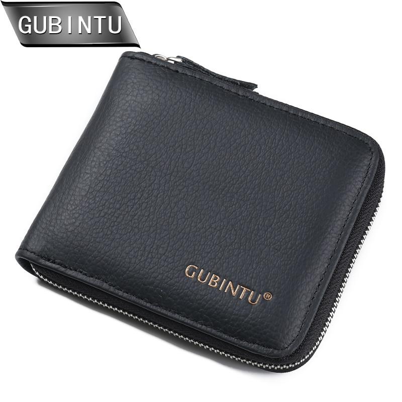 GUBINTU नए आगमन पुरुषों के बटुए 100% असली लेदर जिपर के आसपास बटुआ कार्ड धारक सिक्का पर्स कार्ड धारक बटुआ पर्स