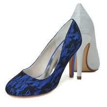 Prägnante design frau spitze schuhe weiß blau einfache closed toe mutter der braut hochzeit cocktail abendkleid schuhe heels