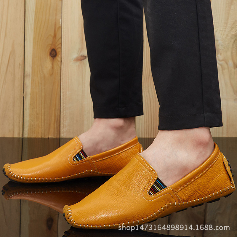dwayne spring and summer new leather men leisure low to help Peas shoes soft and comfortable sets of feet driving shoes