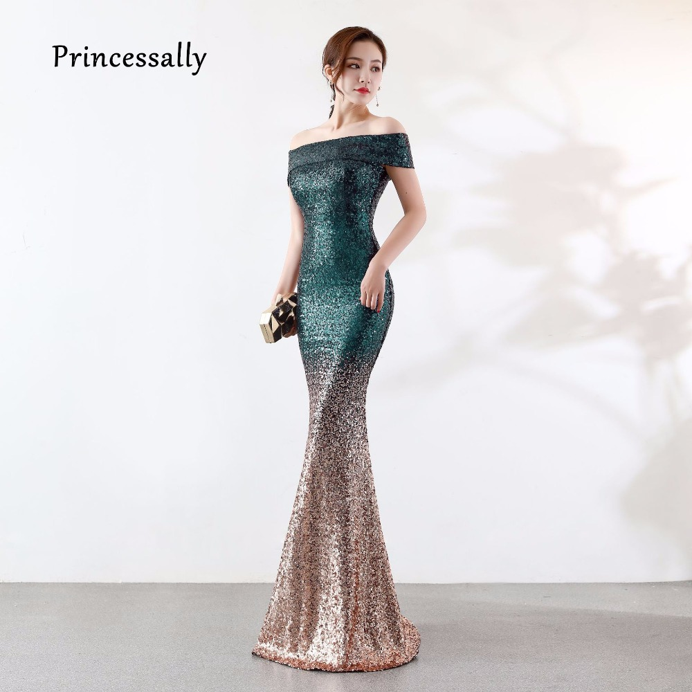 New Sequin Mermaid Evening Dress Off the Shoulder Formal Dress Women  Elegant Robe Soiree Dubai Kleider Damen Abendkleid 10