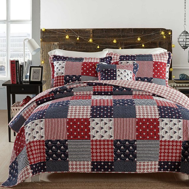fadfay nautical bedding set ocean themed patchwork quilt set soft 100 cotton bedding luxury light - Nautical Bedding