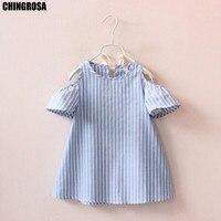 e73d3d1160 CHINGROSA Girls Dress Blue Striped Print Ruffles Petal Sleeve Dress  Princess Summer Mini Dresses Small Kids