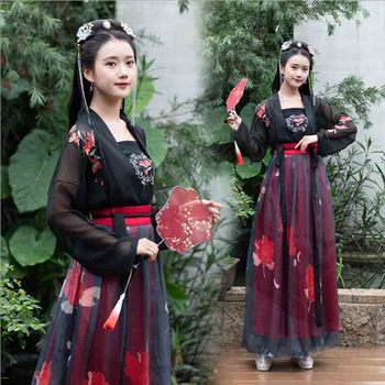 Women Hanfu Ancient Chinese Tradition Tang Dynasty Vintage Dress Female Halloween Princess Costume Outfit For Lady Plus Size