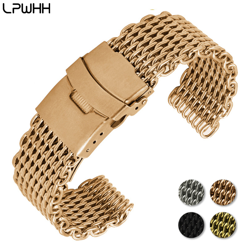 LPWHH Net Weave Stainless Steel Watchband 18mm 20mm 22mm 24mm Metal Buckle Watches Strap Bracelet Women Black Silver Rose Gold