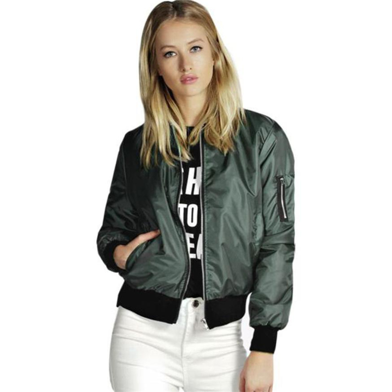 Women short coat ladies bomber jackets Solid color Polyester loose overcoat New Arrival female casual Wine Green Black #RY5830