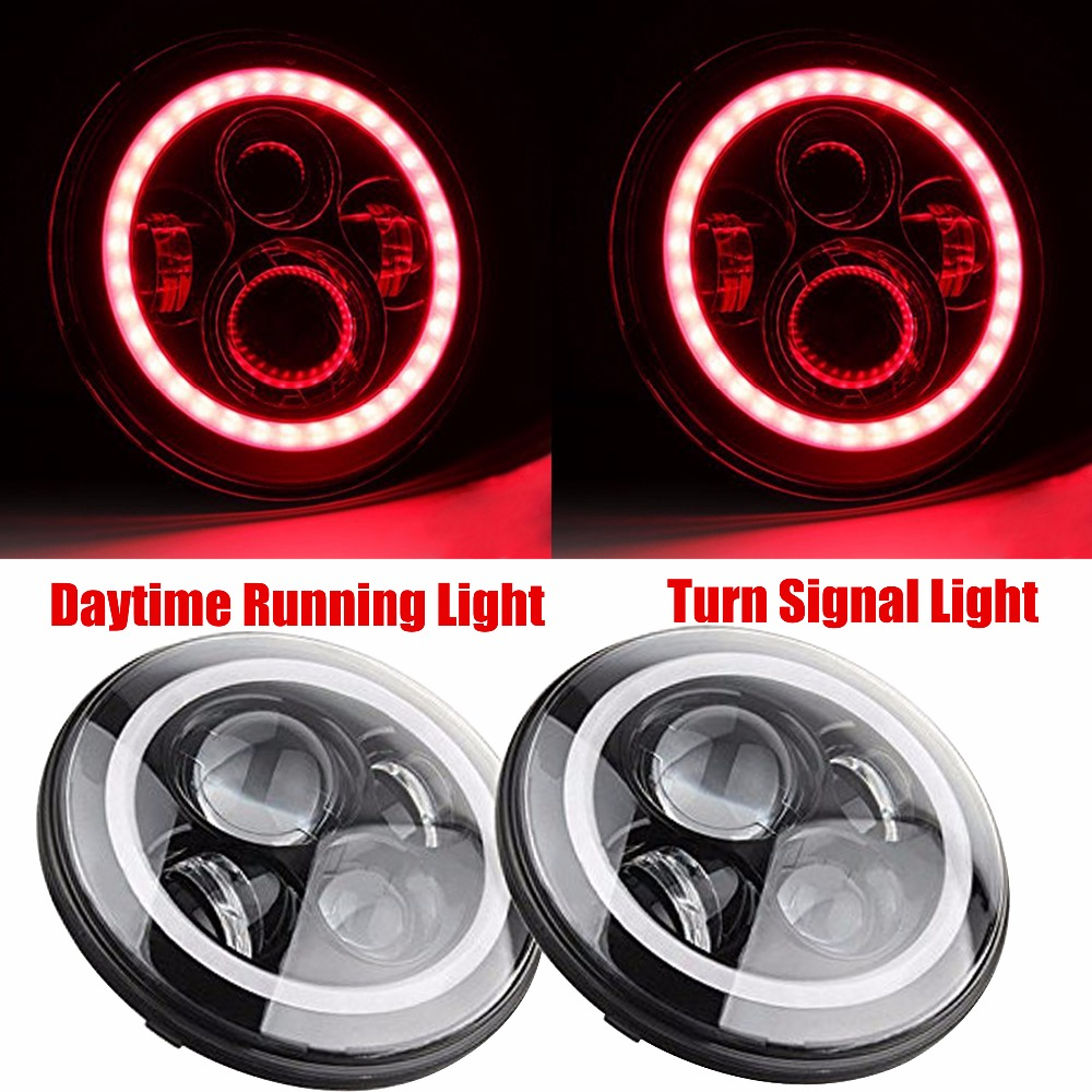 For Harley Davidson Motorcycle 7 Inch Round Led Headlights Daymaker Pink With Halo Ring Angle Eye Drl Driving Lamp On Alibaba Group