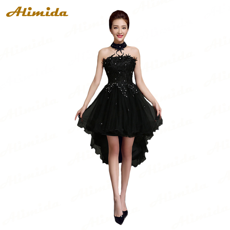 ALIMIDA Beaded Short   Evening     Dress   2017 Off the Shoulder Party   Dresses   Elegant Prom   Dress   Short Front Long Back robe de soiree