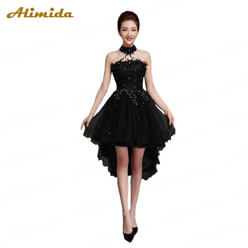 ALIMIDA Beaded Short   Evening     Dress   2017 Off the Shoulder Party   Dresses   Elegant Prom   Dress   Short Front Long Back robe de soiree