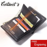 New Top Quality Cow Genuine Leather Men Wallets Fashion Solid Purse Dollar Price Original Brand With