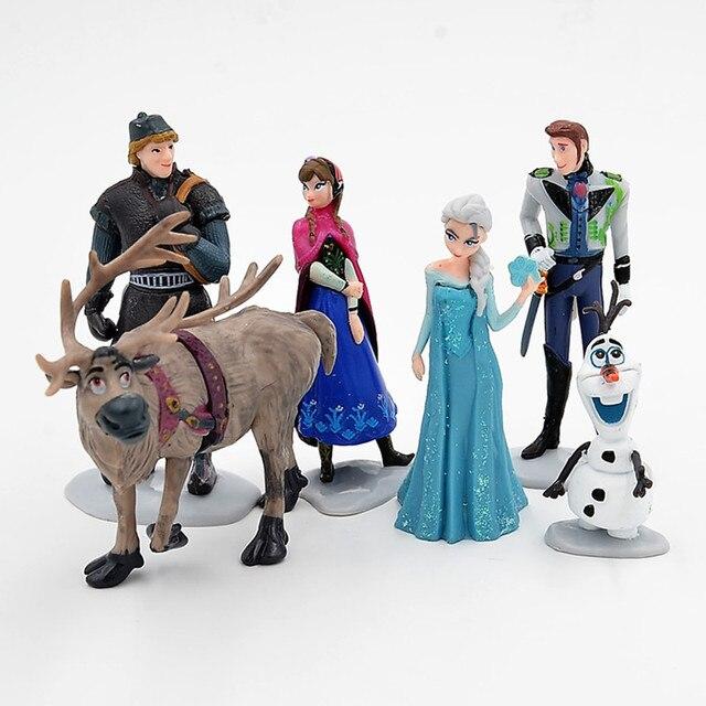 e1a112100ed97 US $9.3 20% OFF|Disney Frozen 6 Pcs/Set 6 11cm Princess Anna Elsa Kristoff  Sven Olaf PVC Action Figures Model Dolls Collection Birthday Gift Toy-in ...