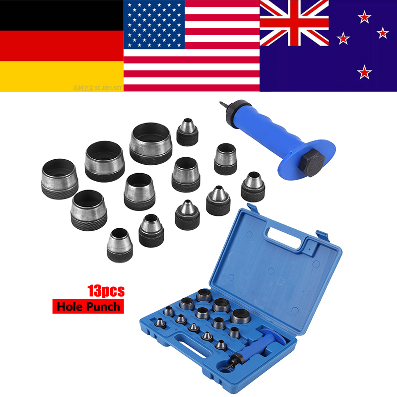 13pcs Hollow Punch Set with Handle Heavy Duty Leather Belt Hole Punching Tool US