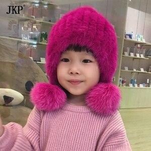 Crianças inverno chapéu de pele Natural de Malha chapéu de Pele de Vison Com pele de Raposa Pom Pom Cap Bola Chapéu do bebê Menina meninos