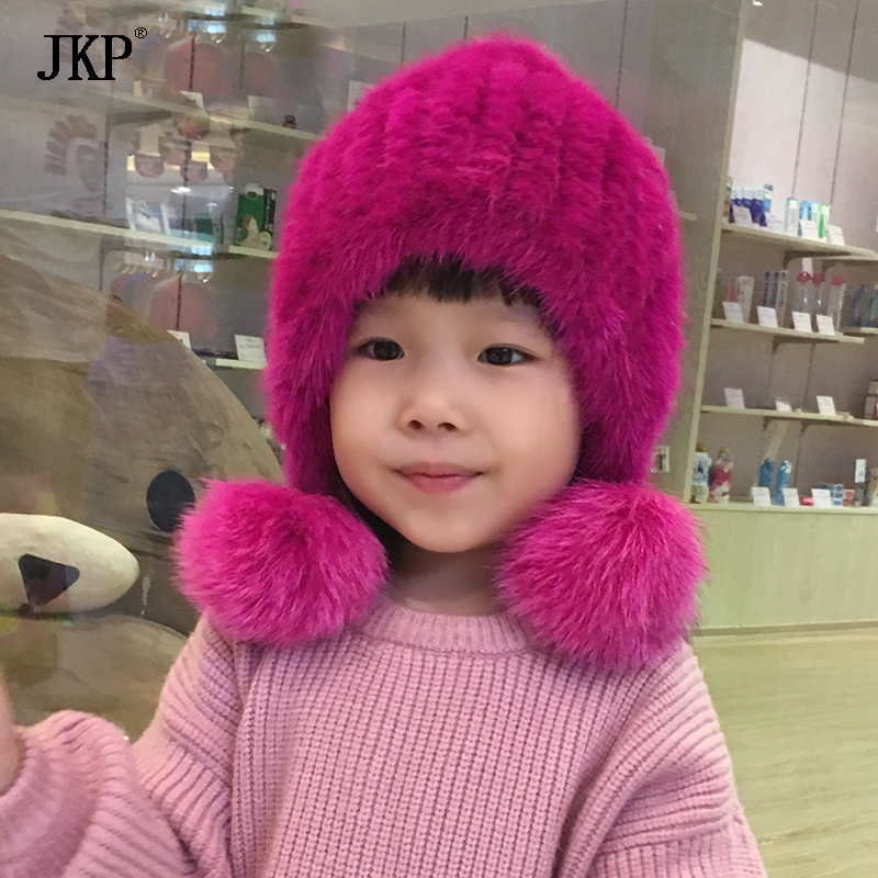 Winter Kids fur hat Natural Knitted Mink Fur hat With Fox fur Pom Pom Ball Cap baby Girl boys Hat flower decorated kids headband with pom pom