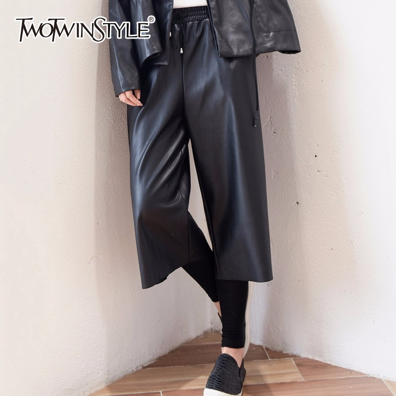 TWOTWINSTYLE PU Leather   Wide     Leg     Pants   Female Elastic High Waist Ankle Length Trouser Autumn Winter Women Big Size Fashion Tide