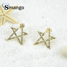 5Pairs,The Rainbow Series,The Star Shape Women Fashion Earrings.Gold Colors, Can Wholesale