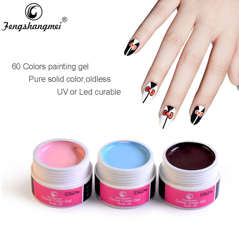 Fengshangmei Tegning UV Gel Paint 60 Farger Nail Art Design Pure Color Nail Painting Gel 1 til 30