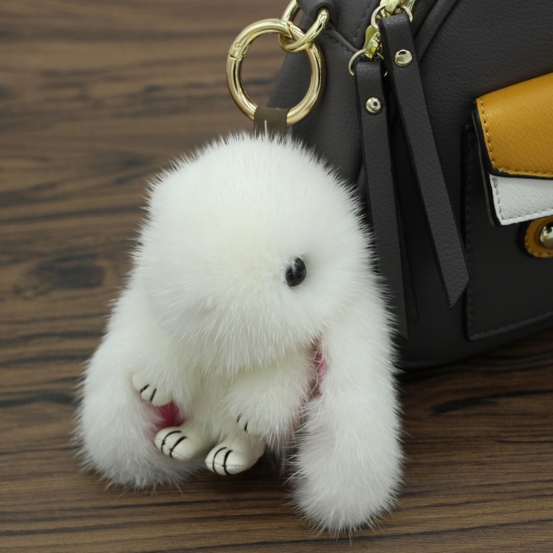 100% Real Genuine Mink Fur Rabbit animal Pendant Car Keychains Bag charms Tag Cute Mini Rabbit Fur Real Toys Dolls Monster Key C