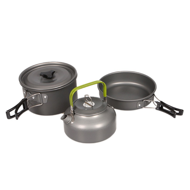 Ensemble de cuisine de Camping en plein air 2-3 personnes théière Portable bouilloire à café casseroles et casseroles articles de table en plein air