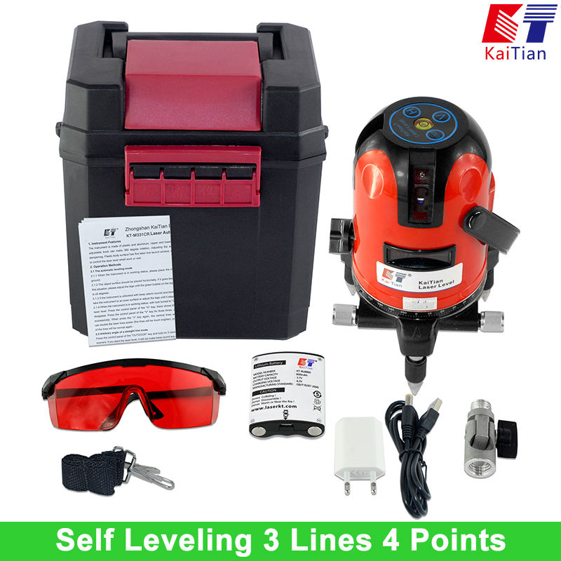 KaiTian Laser Level 360 Degree Rotary 3 Lines 4 Points Self Leveling with Battery Tilt Function Outdoor 635nm Cross Line Lasers xeast xe 50r new arrival 5 lines 6 points laser level 360 rotary cross lazer line leveling with tilt function
