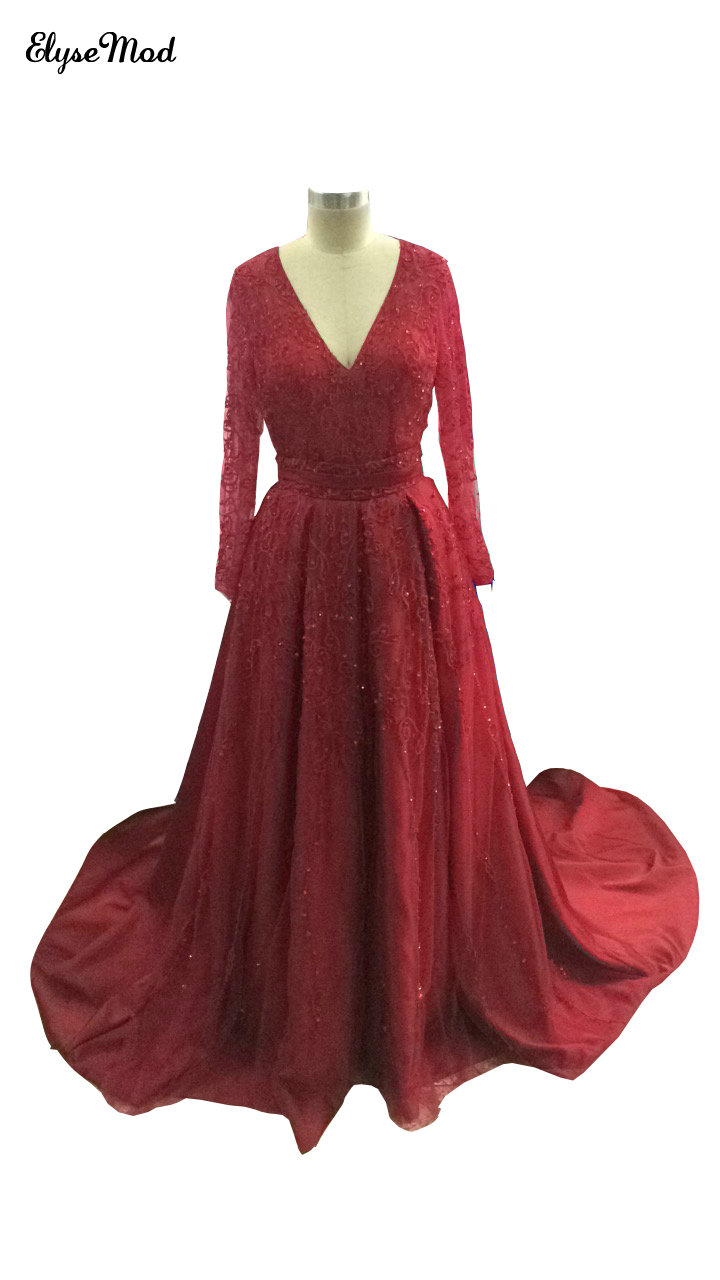 Real Photo Robe de soiree Wine Red Real Photo Beaded   Prom     Dresses   2017 V- Neck Long Sleeves A-Line Sequined Tulle Party   Dresses