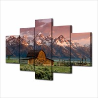 Canvas Art Printed Barn Rocky Mountains Painting Canvas Print Room Decor Print Poster Picture Canvas For