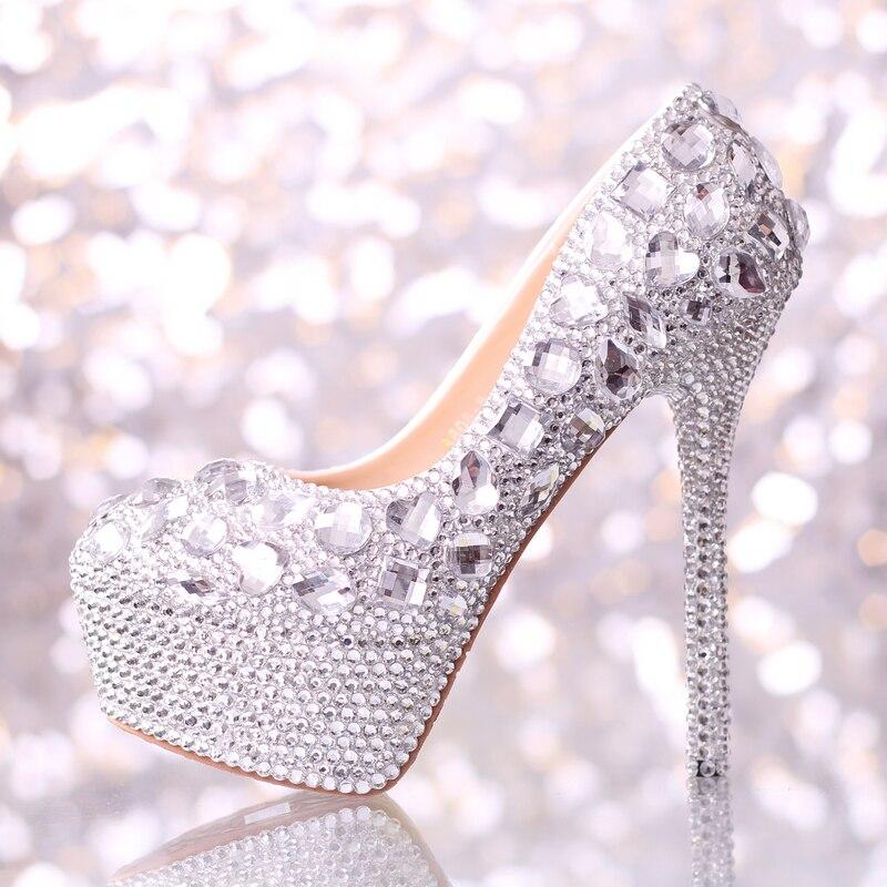 4b2d498095db 15 cm crystal diamond round head waterproof platform bridal gown shoes  women's fashion crystal shoe heels