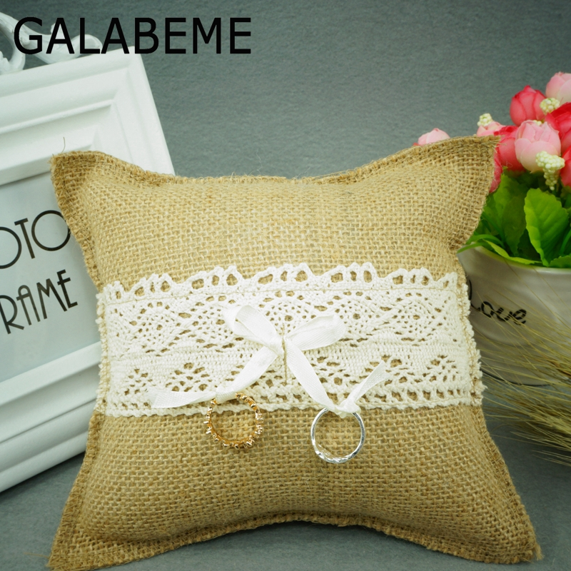 Galabeme 1PCS 18cmX18cm burlap &Lace Ring Pillow Hessian ring pillow rustic wedding centerpieces vintage wedding decoration