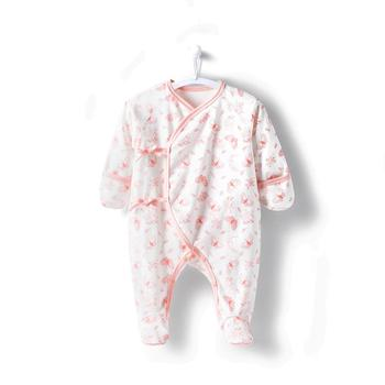 COBROO 100% Cotton Newborn Footie Pajamas with Mittens Side-Belt Allover Butterflies Baby Footed Sleeper 0-3 Months