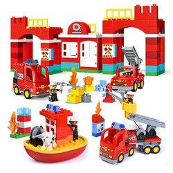 Big Blocks City Fire Station Building Blocks Set Compatible Legoed Duploe DIY Large Building Block City Fire Truck Toys For Kids