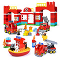 Big Blocks City Fire Station Building Blocks Set Compatible Legoed Duploed DIY Large Building Block City Fire Truck Toys For Kid