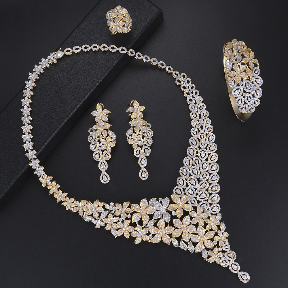 Fashion Blossom Multiply Flowers Jewelry Sets Rings Necklace Bracelet Earrings Sets Micro Cubic Zirconia For Women Wedding цена