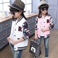 Meninas jaqueta de baseball jersey crianças casacos e jaquetas crianças outerwear menina da criança cardigan para 3 ~ 14 anos de moda sping outono