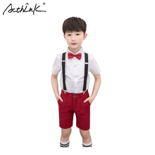 ActhInK New Arrival Boys Summer Overalls Clothing Set Short Sleeve Shirts Suit For Teenage Wedding