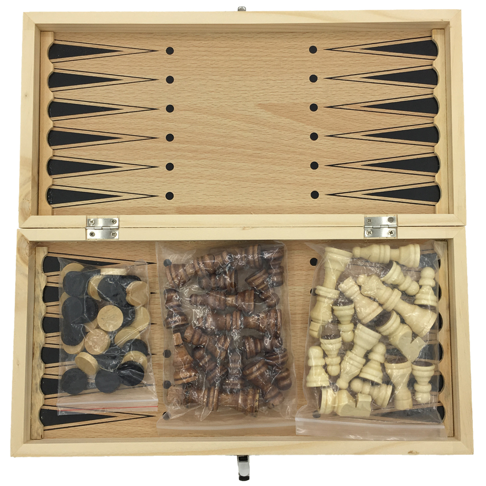 Ajedrez, damas y Backgammon 3 en 1 sin juego de ajedrez grande magnético todo ajedrez hecho de madera juego de ajedrez juego de regalo