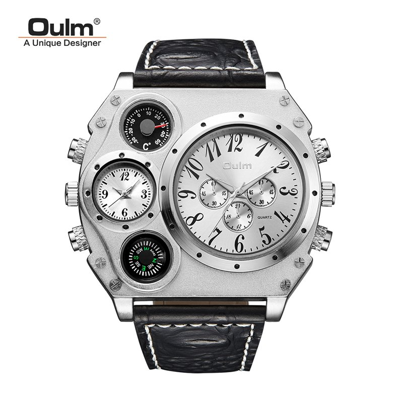 TEAROKE Oulm Men Watch Quartz Wristwatches Male Small Dials Decoration Leather Designer Strap Wristwatch Leopard Dual Time Zone oulm 3597 male quartz watch dual movt multifunctional wristwatch
