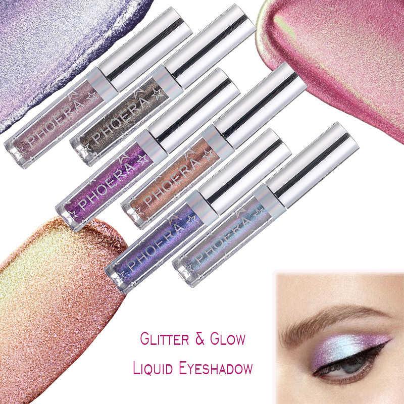 PHOERA เงา Eye Liner ปากกาโลหะ Diamond Eyeshadow Palette shimmer Pigmented Liquid อายแชโดว์เครื่องสำอางค์ TSLM2