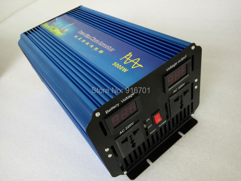 цена на Free Shipping 5000W Power Inverter Pure Sine Wave DC 12V to AC 220V Solar/Wind/Car/Gas Power Generation Converter