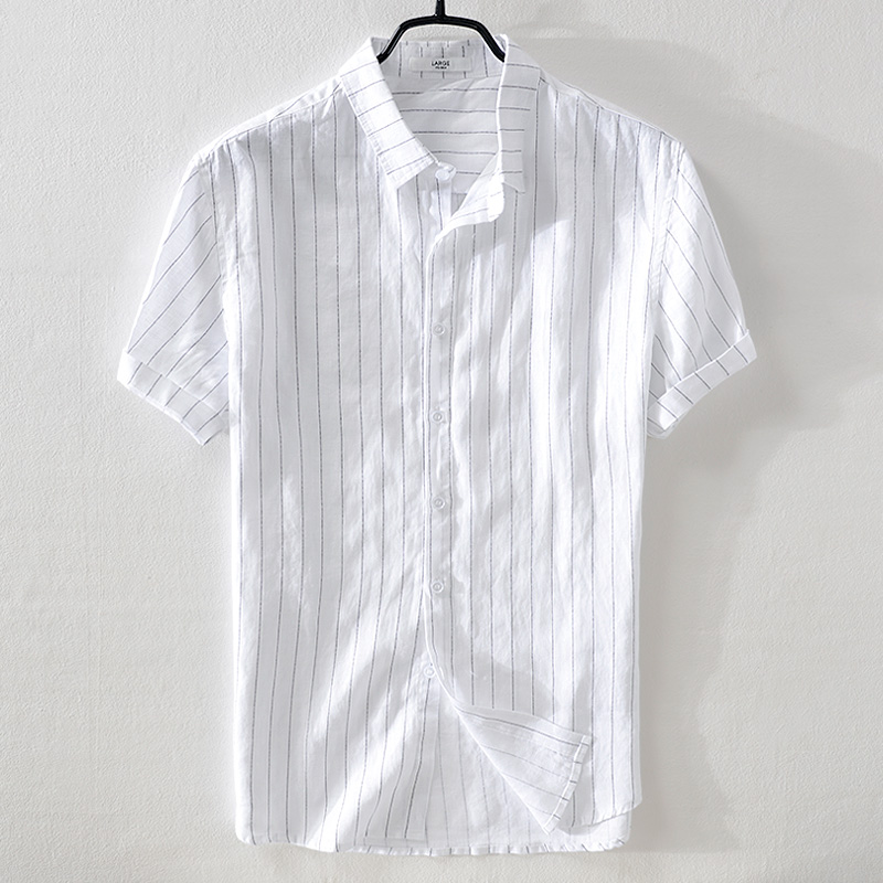 2018 New Brand Men's Linen Short-sleeved Striped Shirt Loose Casual Flax Shirt Mens M-3XL Summer White Shirts Male Camisa