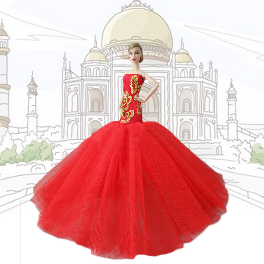 Satkago Gorgeous Girl Doll Toys Party Fishtail Dresses Gown Outfits Doll Accessories for Barbie Toys Girls Birthday Gift Red