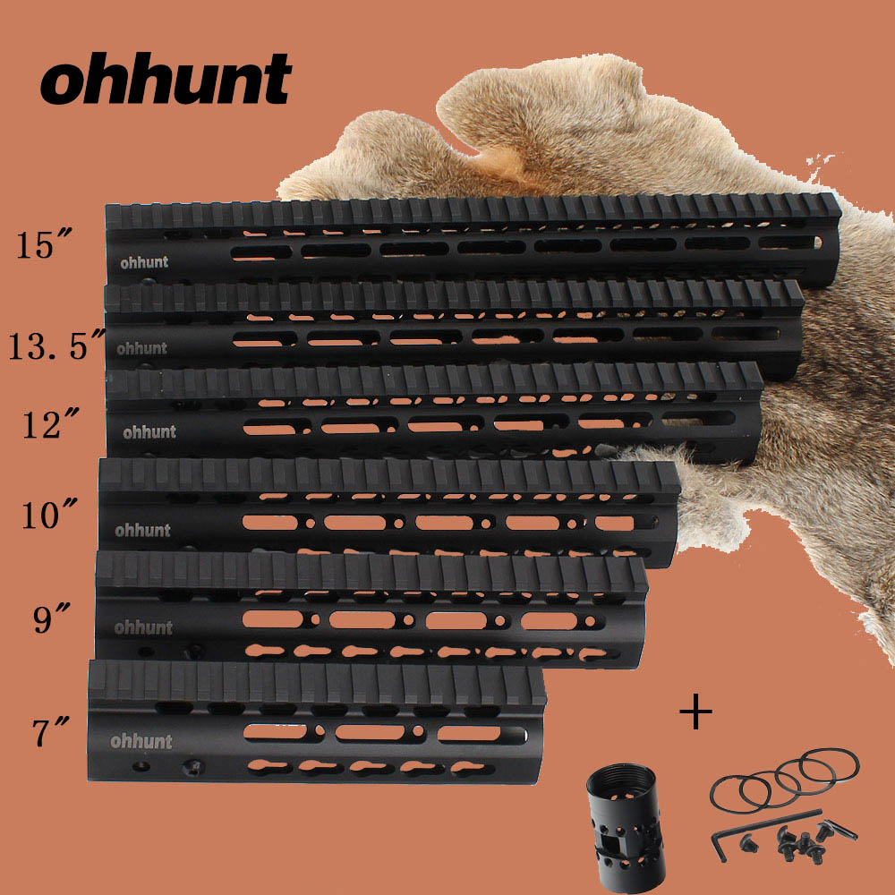 ohhunt Hunting Tactical AR-15 Rail NSR 7 9 10 12 13.5 15 Rail KeyMod Handguard Picatinny Rail with Steel Barrel Nut ak 47 tactical quad rail picatinny handguard system cnc aluminum full length tactical for ak rifles 26cm hunting gun accessories