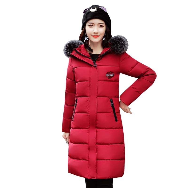 Women's winter coat down cotton-padded jacket large fur collar thickening winter wadded jacket outerwear women long parka 4L13 2015 winter jacket women cotton padded jacket women fur collar ladies winter coat thickening outerwear long denim parkas h4451