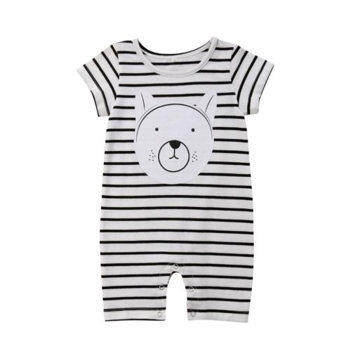 Rompers Sporting Newborn Infant Baby Boy Girl Casual Cotton Romper Striped Printed Bear Clothes Outfits Us Ture 100% Guarantee