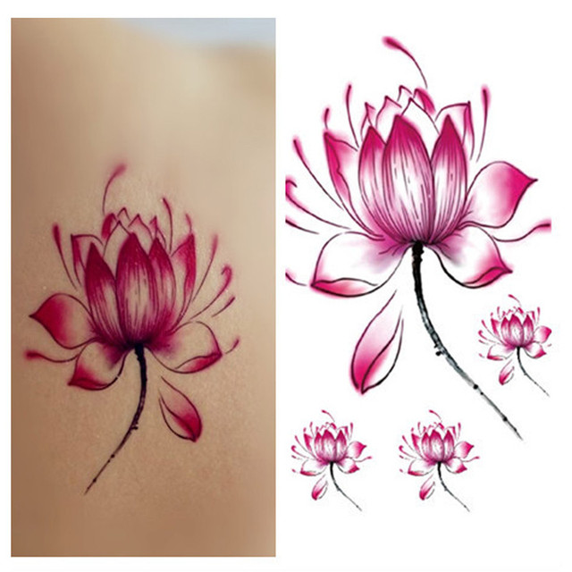 d3154a3c7 Beauty women Pink Lotus Flower Design Flash Tattoo Sticker Waterproof Temporary  Tattoo water transfer Paper Body Art fake Tattoo