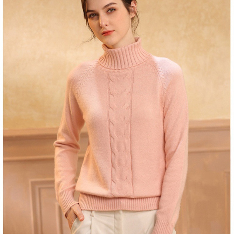 Smpevrg autumn winter lady turtleneck cashmere knitted sweater women pullover long sleeve warm pullover women sweater