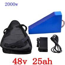 48 v 2000 треугольная батарея 48 v 25ah литиевая батарея 48 v 25ah электрическая велосипедная батарея с 50A BMS и 54,6 V 5A зарядное устройство беспошлинное